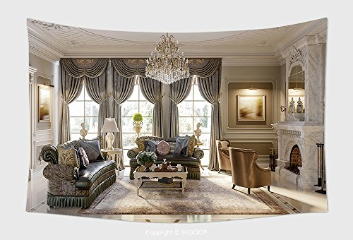 Home Decor Tapestry Wall Hanging Luxurious Baroque Living Room In Large Classic Style House With Large Marble Fireplace Marble for Bedroom Living Room Dorm by vanfan