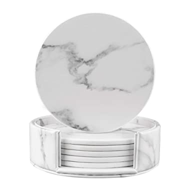 Coasters for Drinks, Round Marble Leather Coasters with Holder Set of 6 Protect Your Furniture (White Marble, Round)
