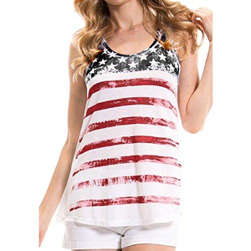 Vest for Women,jinjiu Summer American Flag Print Sleeveless Tank Tops Blouse (XL, White) - Vintage Boy Scout Uniform Shirt