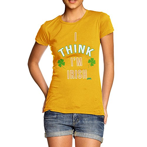 (Novelty T Shirt ST Patricks Day I Think I'm Irish Women's T-Shirt X-Large Yellow)