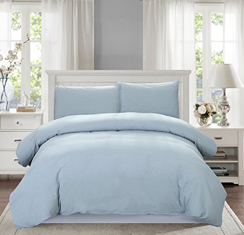 SUSYBAO 3 Pieces Duvet Cover Set 100% Natural Washed Cotton Pale Blue King Size 1 Duvet Cover with 2 Pillow Cases Luxury Quality Durable Ultra Soft Breathable Hypoallergenic Fade and Stain Resistant