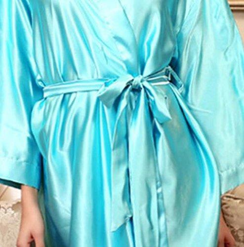 Pigiama Con Cinghia Donne Lunghe A Notte Cardigan Camicia Azzurro Cielo Le spogliatorio Accappatoio Champagne Abiti Vestaglie Da Maniche Di Dalla Wanyne colore qf47x