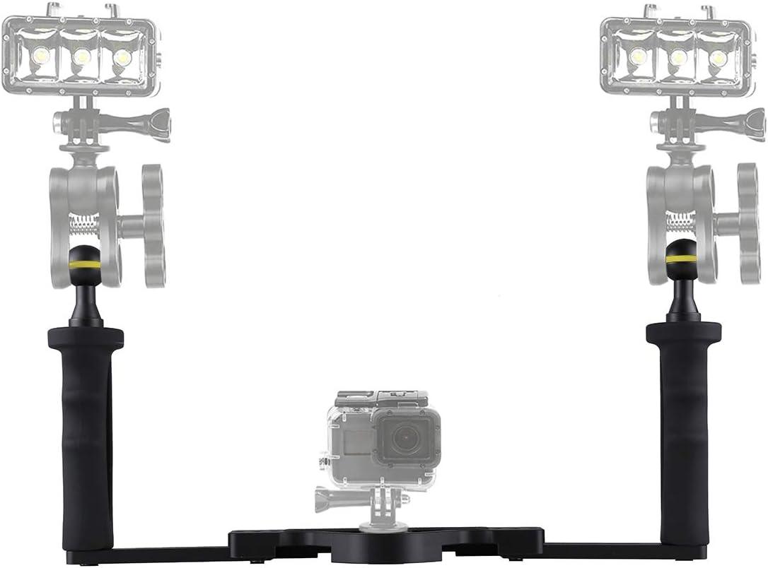 GuiPing Dual Handle Aluminium Tray Stabilizer for Underwater Camera Housings Durable