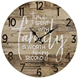 """family room designs JB Products Shop Farmhouse Style Rustic Wall Clock, Brown Wood Design with Saying: Time Spent with Family is Worth Every Second 13"""" Diameter. Beautiful Addition to Any Room!"""
