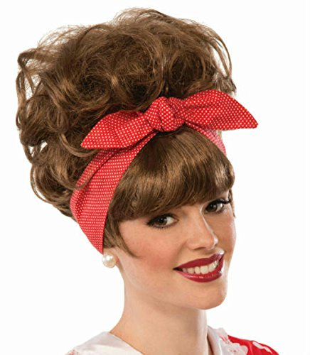 Womens Brown 50's Diner Waitress Dottie Jean Wig Costume Accessory
