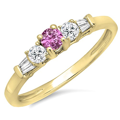 14K Yellow Gold Round & Baguette Pink Genuine Sapphire & White Diamond 3 Stone Engagement Bridal (Pink Sapphire Baguette)