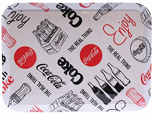 - Tablecraft Coca-Cola Melamine Serving Tray, black & White Graphic Design (CC392)