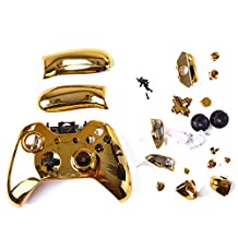 HDE Glossy Chrome Custom Replacement Wireless Game Controller Shell Case Cover Kit for Xbox One Gaming Controllers (Gold Chrome)