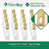 16 - FilterBuy Oreck Type CC Replacement Vacuum Bags. Oreck Part #'s CCPK8 & CCPK8DW. Designed by FilterBuy to replace Oreck CC Paper Vacuum Bags