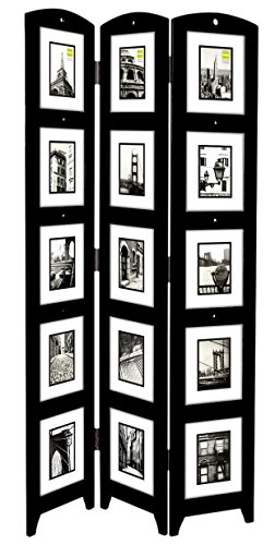 Frame Black Panel - Kiera Grace Triple Panel Floor Photo Screen, 33 by 64.5-Inch, Holds 15 - 5 by 7-inch Photos, Black