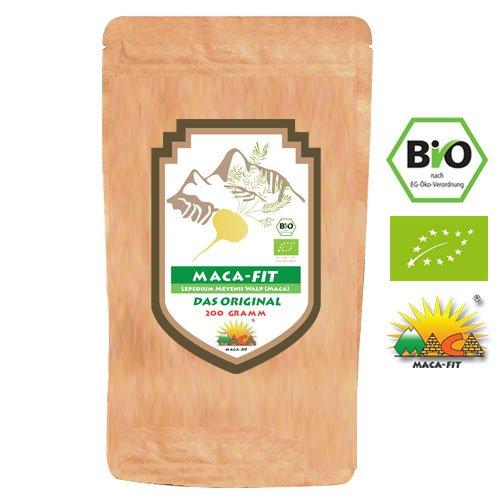 100% reines BIO Maca Fit Pulver 200g BIO das Original [Vitamine, Aminosäuren, Proteine u.v.m] Vegan, Organic, Gluten Frei, Speziell für Allergiker, Superfood ideal für Smoothies und Shakes