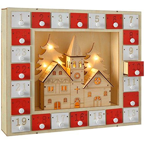 [해외]WeRChristmas 사전 조명 나무 교회 장면 강림절 달력 크리스마스 장식 29cm - 멀티 컬러 / WeRChristmas Pre-Lit Wooden Church Scene Advent Calendar Christmas Decoration 29 Cm - Multi-Colour