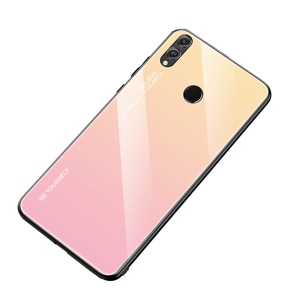 AIsoar Compatible with Huawei P Smart/Enjoy 7S Colored Gradient Tempered Glass Case,Tempered Glass Back Cover + Soft TPU Bumper Frame Shockproof Anti-Scratch Protective Cover Shell (Pink + Yellow) by AIsoar