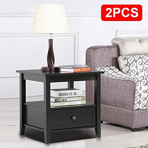 Topeakmart Black End Table with Bottom Drawer and Open Storage Shelf for Living Room Sofa Side Table Set of (Pine Set Side Table)
