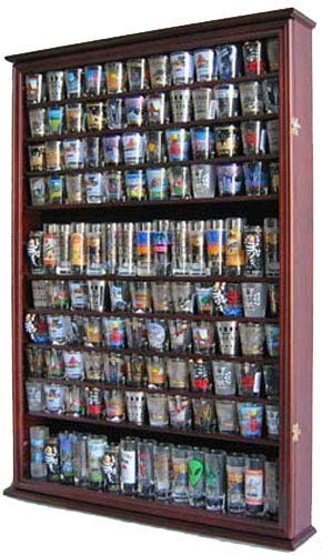 - Large 144 Shot Glass Shooter Display Case Holder Wall Cabinet, UV Protection - MAHOGANY Finish
