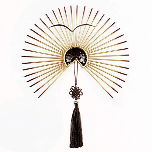Athena Bronze Pendant - JJSPP Oriental Furniture Wind Iron Fan with Tassel Pendant (Size : 30CM)
