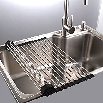 Kitchen Sink Drain Rack Amazon roll up dish drying rack in sink stainless steel roll up dish drying rack in sink stainless steel kitchen folding rack over sink dish drainer16 workwithnaturefo