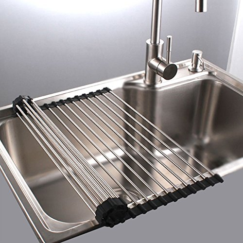 Roll Up Dish Drying Rack in Sink Stainless Steel Kitchen Fol