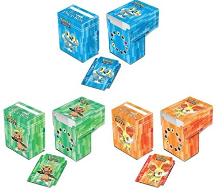 Conjunto de 3 Ultra-Pro XY Pokemon Cajas de barajas incl.Froakie (azul