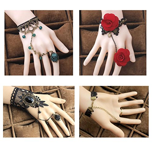 [Red Ape Lace Fingerless Gloves Bracelet for Women,for Wedding Party Masquerade,pack of 3] (Masquerade Dresses For Sale)