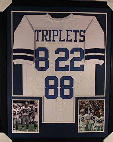- Troy Aikman Emmitt Smith Michael Irvin Dallas Cowboys TRIPLE Autograph Signed Custom Framed White Jersey GTSM Certified