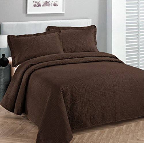 Linen Plus King/California King 3pc Oversized Luxury Bedspread Coverlet Set Solid Brown
