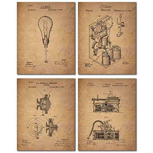 Edison Patent Prints - Set of 4 Vintage Light Bulb Telephone Phonograph Telegraph Wall Art Decor Photos