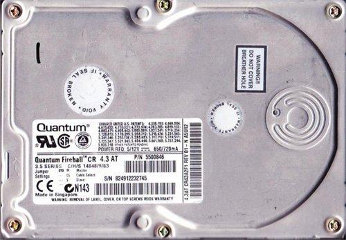 Quantum 4.3AT 4.3GB 3.5 IDE Hard Drive Fireball (43AT)