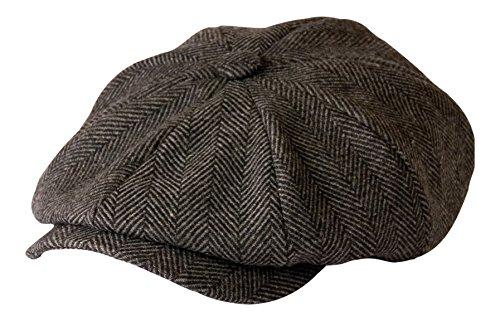 'Shelby' Newsboy Grey Herringbone Cloth Cap By Gamble & Gunn