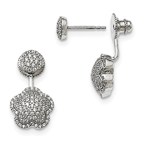 925 Sterling Silver Cubic Zirconia Cz Convertible Back Post Stud Earrings Flower Gardening Fine Jewelry Gifts For Women For Her (Best Long Jump Spikes 2019)