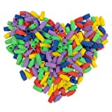 MOMOONNON Top Pencil End Eraser Caps Arrowhead Wedge Erasers Office School Supplies Assorted Colors Tips for Kids Students Pack of 250