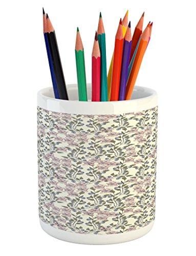 Ambesonne Flower Pencil Pen Holder, Pastel Toned Illustratio