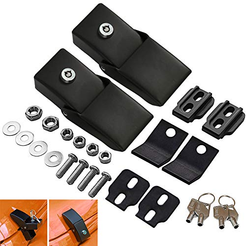 WarmCare Aluminum Hood Latches Lock Kit for Jeep Wrangler JK 2007-2017