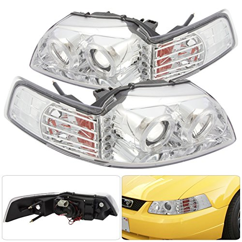 Projector Chrome Mustang (Ford Mustang GT Cobra SVT Chrome Housing Projector Headlights Lamps Twin Dual Halo Angel Eyes Clear Lens Amber Reflector Corner White 3 LED DRL)