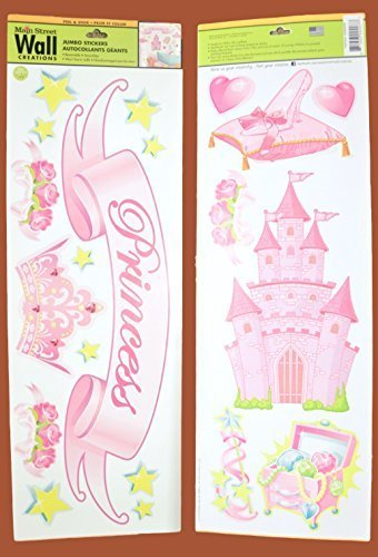 Main Street Wall Creations Jumbo Stickers - Princess with Castle, Glass Slipper, Treasures and More