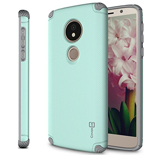 Moto G6 Forge Case, Moto G6 Play Case, CoverON [Bios Series] Minimalist Thin Fit Protective Hard Phone Cover with Embedded Metal Plate for Magnetic Car Mounts - Powder Blue