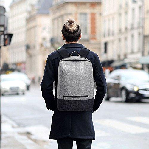 Mode Männer Frauen Leinwand USB Ladegerät Port Rucksack 14 Zoll Laptoptasche (grau) grau+schwarz