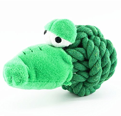 CECII Dog Chew Toys Pet Dental Treat Tooth Cleaning toy for Pet Training, Playing, Chewing Squeaker Sound Toys, Rope Ball Dog Toy 3-1/2in, Birds (Green)