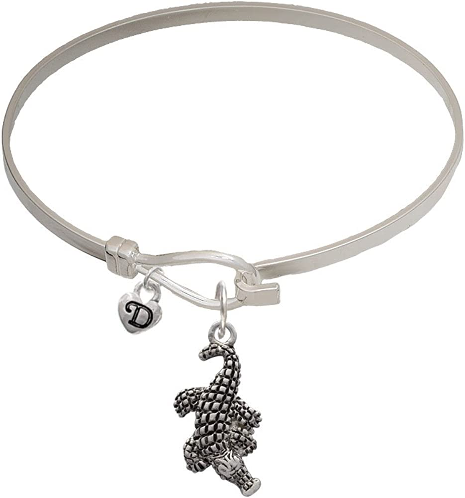 Alligator Mini Logo Heart Latch Bangle Bracelet