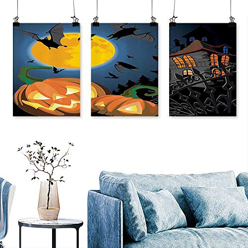 SCOCICI1588 3-Piece Home Decoration Gothic e with Halloween Haunted House Party Theme Trick or Treat for Home Modern Decoration No Frame 24 INCH X 40 INCH X 3PCS ()