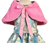 Big Girls' Adorable Faux Fur Wrap Shoulder Bow Collar Cape Pink Size M