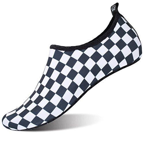 JIASUQI Womens Athletic Water Skin Shoes Aqua Socks for Pool Park Black Plaid US 3.5-4 Women