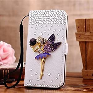 WEV Diamond Elfin PU Leather Full Body Case with Stand and Card Slot for iPhone 5/5S