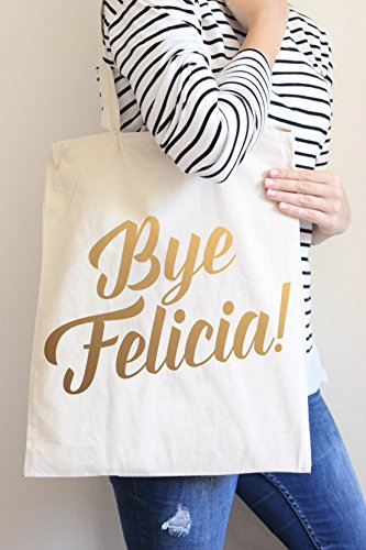 Bye Felicia Gold Tote Bag in Natural Color