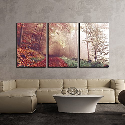 wall26 - 3 Piece Canvas Wall Art - Fall Landscape of Path Covered by Leaves Lead to Misty Forest - Modern Home Decor Stretched and Framed Ready to Hang - ()
