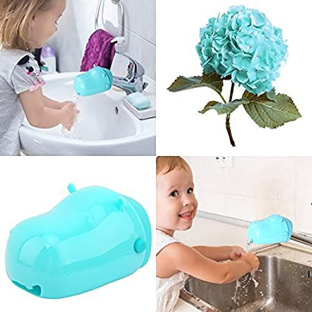 Zooawa Baby Hippo Faucet Extender, Bathroom Sink Handle Extension Attachment Cartoon Water Chute for Kids Toddlers Hands Washing, Magenta