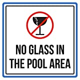 No Glass In The Swimming Pool Area Spa Warning Sign, Metal - 9x9