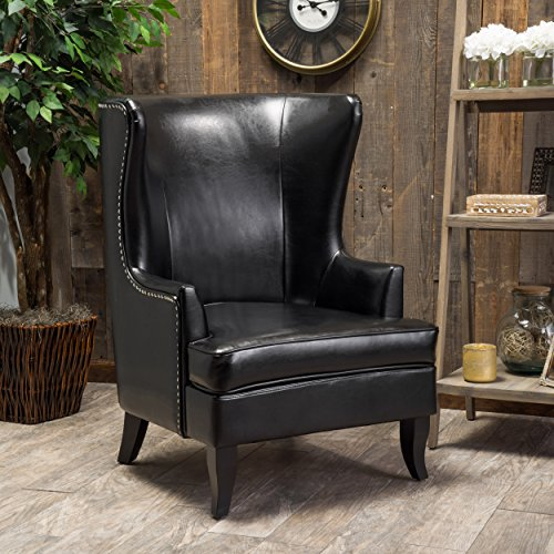 Great Deal Furniture Jameson Tall Wingback Black Leather Club Chair (Wing Leather Chair Back)