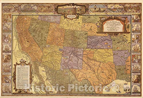 Historic Map | A map of exploration in the Spanish Southwest, 1528-1793 v1 | 64in x - Hills Spanish Collection Bedroom