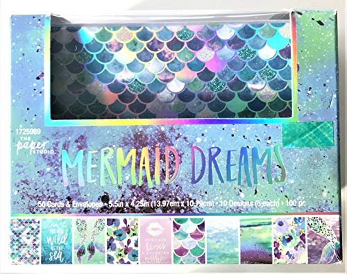 Mermaid Dreams Silver Foiled Note Cards with Envelopes, 50 ct, 10 Designs, Scales, Tails, Phrases